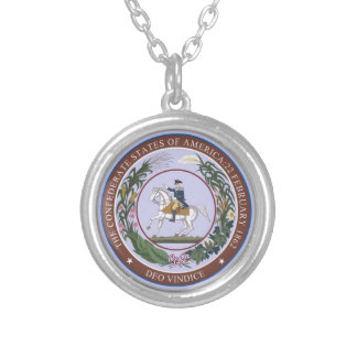 Seal of the Confederacy Silver Plated Necklace