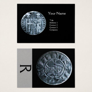 SEAL OF THE KNIGHTS TEMPLAR MONOGRAM Grey Paper Business Card