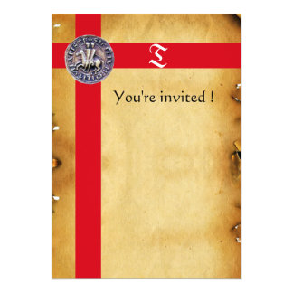 SEAL OF THE KNIGHTS TEMPLAR, Monogram  Parchment Personalized Invitation