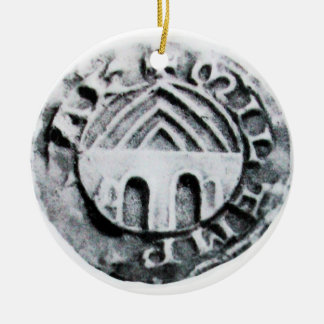 SEAL OF THE KNIGHTS TEMPLAR Double-Sided CERAMIC ROUND CHRISTMAS ORNAMENT