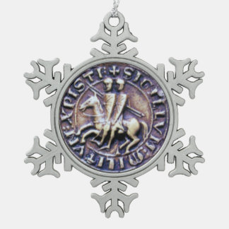 SEAL OF THE KNIGHTS TEMPLAR SNOWFLAKE PEWTER CHRISTMAS ORNAMENT