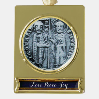 SEAL OF THE KNIGHTS TEMPLAR GOLD PLATED BANNER ORNAMENT