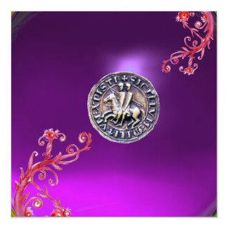 SEAL OF THE KNIGHTS TEMPLAR purple grey Personalized Announcements