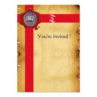 SEAL OF THE KNIGHTS TEMPLAR, Red Wax Monogram Card