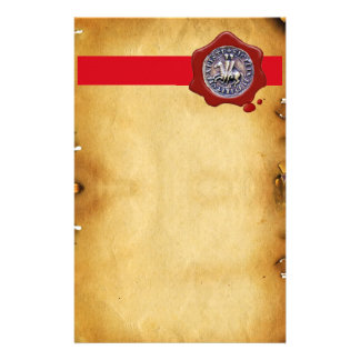 SEAL OF THE KNIGHTS TEMPLAR, Red Wax ,Parchment Stationery