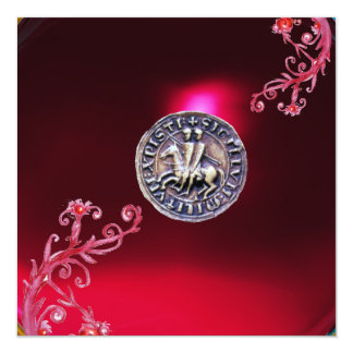 SEAL OF THE KNIGHTS TEMPLAR ruby red burgundy Custom Invite