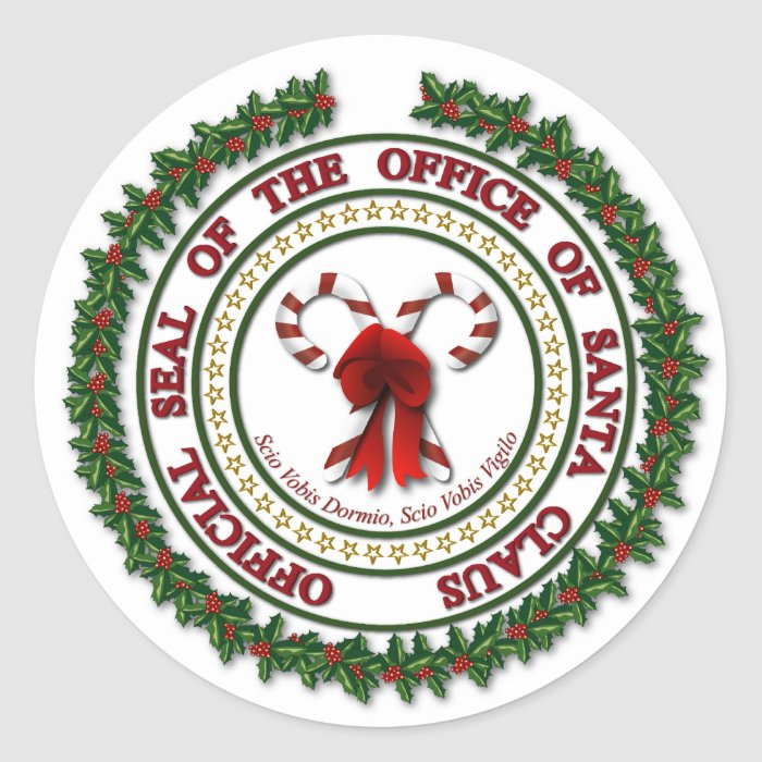 santa claus letter with seal would to seal of the office of santa claus stickers zazzle 944