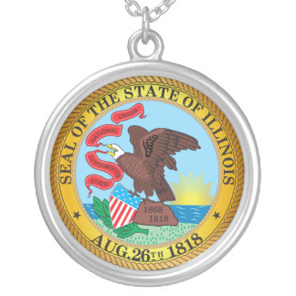 Seal of the State of Illinois Silver Plated Necklace