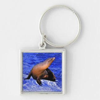 Seal on Rock with Deep Blue Sea Keychain
