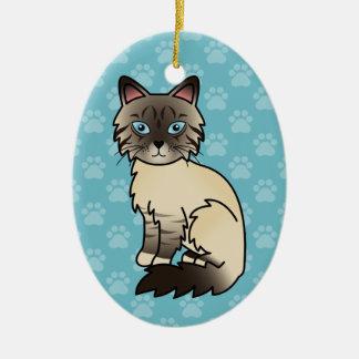 Seal Point Tabby Birman / Ragdoll Cat Ceramic Ornament