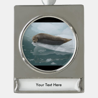 seal silver plated banner ornament