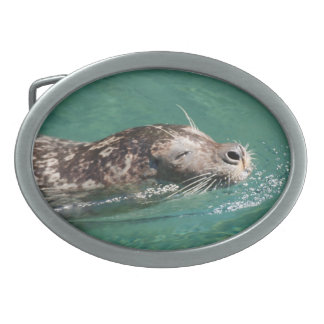 Seal Swimming Oval Belt Buckle