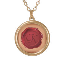 seal wax monogram of letter k gold plated necklace