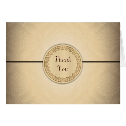 Sealed Damask Flap Thank You Card
