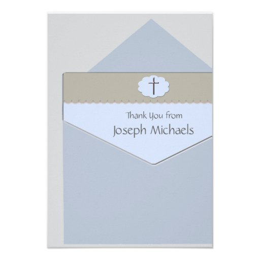 Sealed with a Blessing Religious Thank You Card Announcement