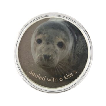 Beach Themed Sealed with a kiss baby grey seal pin