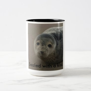 Beach Themed Sealed with a kiss. Cute grey seal pup baby Two-Tone Coffee Mug