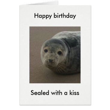 Beach Themed Sealed with a kiss cute seal pup birthday card. card