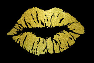 Sealed with a Kiss Gold Lip Print Round Stickers