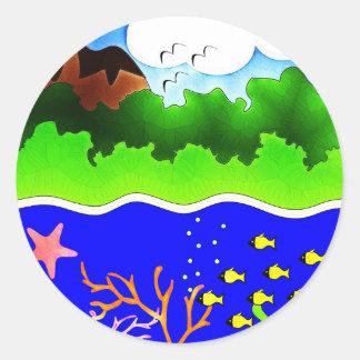 Sealife Cute tropical island Classic Round Sticker