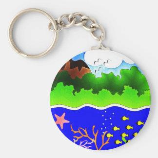 Sealife Cute tropical island Key Chain