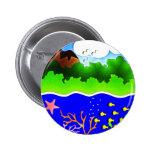 Sealife Cute tropical island Pinback Button