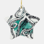 Sealife Octopus Double-Sided Star Ceramic Christmas Ornament