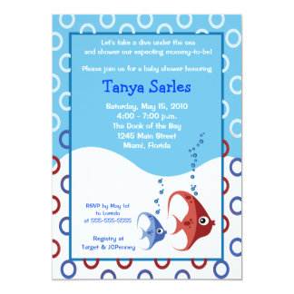 Sealife RED FISH BLUE FISH 5x7 Baby Shower Card