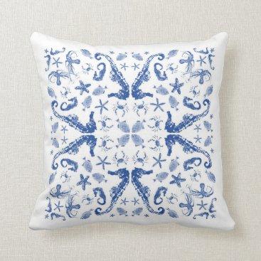 Beach Themed Sealife Tile I - accent pillow - indigo on white
