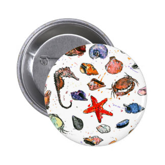 Sealife's Watercolors 2 Inch Round Button