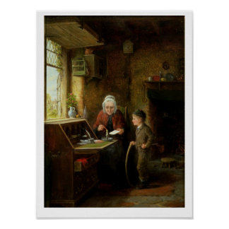Sealing a Letter, 1890 (oil on panel) Poster