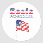 Seals for Congress Patriotic American Flag Round Stickers