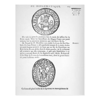 Seals of Hugues Capet  and Robert II  the Pious Postcard