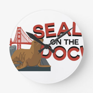 Seals On The Dock Round Clock