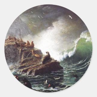 Seals on the Rocks by Albert Biestadt Classic Round Sticker