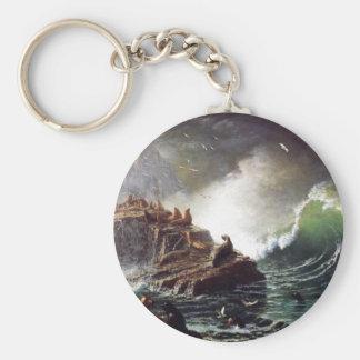 Seals on the Rocks by Albert Biestadt Key Chain