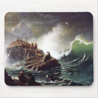 Seals on the Rocks by Albert Biestadt Mouse Pad