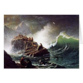 Seals on the Rocks, Farallon Islands - Bierstadt Card