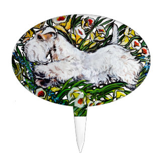Sealyham Terrier Daffodils Cake Pick
