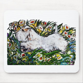 Sealyham Terrier Daffodils Mousepads