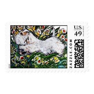 Sealyham Terrier Daffodils Postage Stamp