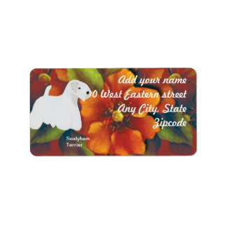 Sealyham Terrier - diseño floral del otoño Etiqueta De Dirección