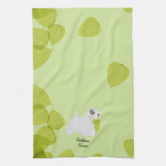Sealyham Terrier ~ Green Leaves Designs Towels