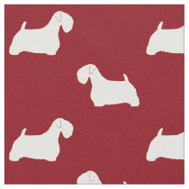 Sealyham Terrier Silhouettes Pattern Red Fabric