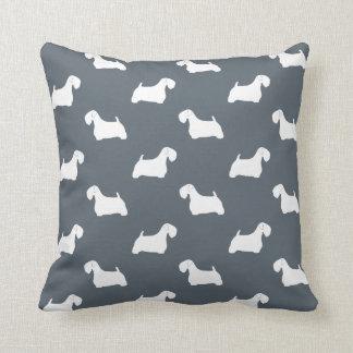 Sealyham Terrier Silhouettes Pattern Throw Pillow