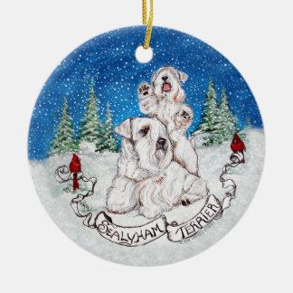 Sealyham Terrier Winter Ceramic Ornament