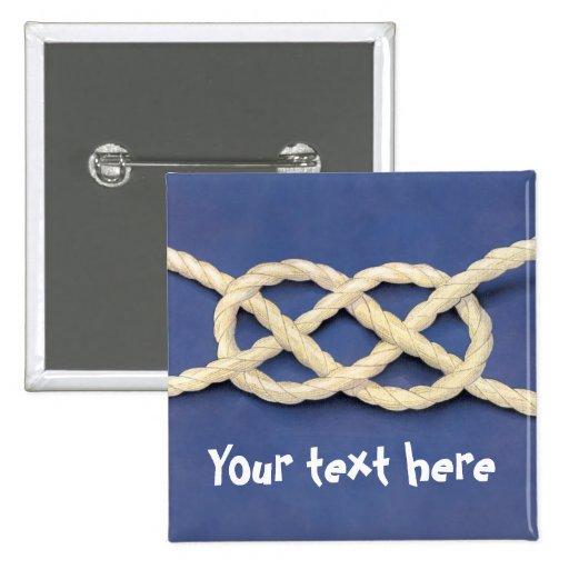 Seamen's Knot - Carrick Bend 2 Inch Square Button