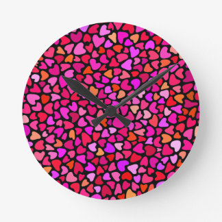 Seamles Colorful Hearts Pattern Girly  Wall Clock