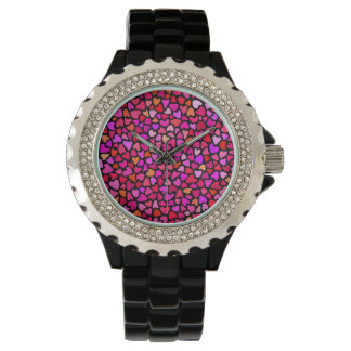 Seamles Colorful Hearts Pattern Girly Watch