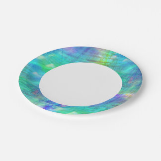 seamless art background watercolor blue, green paper plate